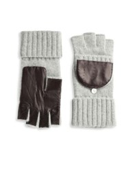 Portolano Fingerless Wool And Leather Gloves Light Heather Grey