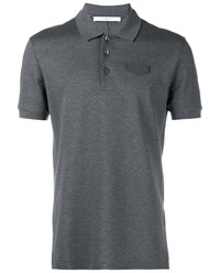Givenchy Short Sleeved Polo Shirt With Leather Logo Grey Denim