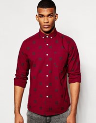 Asos Christmas Shirt In Fairisle Print With Long Sleeves Red