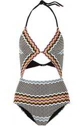 Missoni Cutout Crochet Knit Swimsuit Black
