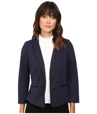 Kensie Stretch Herringbone Blazer Ks9k2220 Royal Combo Women's Jacket Black