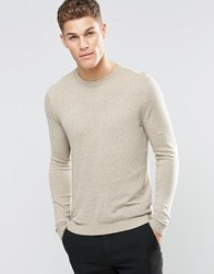 Asos Crew Neck Jumper In Beige Twist Cotton Brown