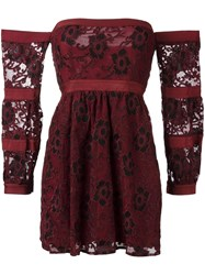 For Love And Lemons Off Shoulder Lace Dress Red
