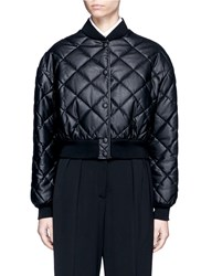 Stella Mccartney Quilted Faux Leather Cropped Coat Black