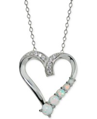 Giani Bernini Cubic Zirconia And Iridescent Stone Heart Pendant Necklace In Sterling Silver Only At Macy's