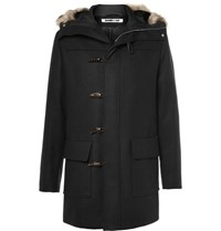 Mcq By Alexander Mcqueen Faux Fur Trimmed Wool Blend Hooded Parka Black