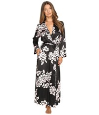 Oscar De La Renta Printed Silky Charmuese Long Robe Black Pink Brush Accent Floral Women's Robe