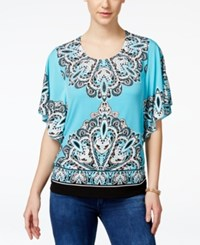 Jm Collection Embellished Butterfly Sleeve Blouse Only At Macy's Turquoise