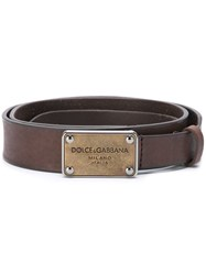 Dolce And Gabbana Metallic Logo Plaque Belt Brown