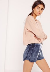 Missguided Washed Tie Waist Runner Shorts Navy Blue