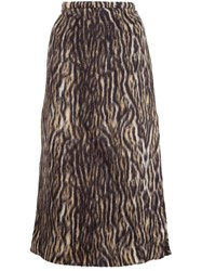 Rochas Leopard Print Midi Skirt Brown