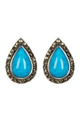 Sterling Silver Turquoise And Marcasite Teardrop Stud Earrings Blue