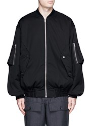 Feng Chen Wang Oversized Letter Fleece Patch Bomber Jacket Black
