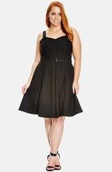 Plus Size Women's City Chic 'Buckle Up' Sleeveless Fit And Flare Sundress Black
