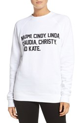 Brunette Women's 'Roll Call' Crewneck Sweatshirt White