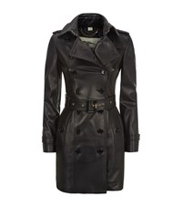 Burberry London The Sandringham Mid Length Leather Trench Coat Female