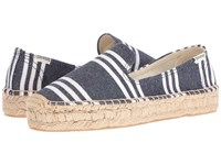 Soludos Striped Platform Smoking Slipper Navy White Heavy Woven Canvas Women's Slip On Shoes Blue