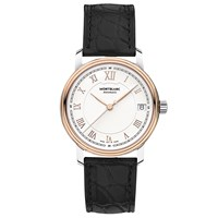Montblanc 114368 Women's Tradition Date Automatic Alligator Leather Strap Watch Black White