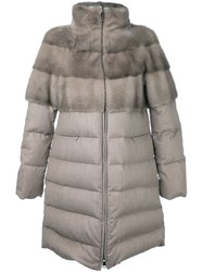Manzoni 24 High Neck Mid Length Coat Nude And Neutrals