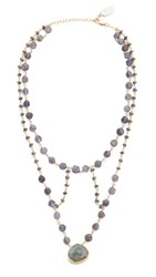 Ela Rae Cleo Necklace Iolite Coin Hematite Lab