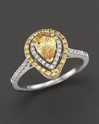 Bloomingdale's Yellow And White Diamond Pear Shaped Ring In 18K White And Yellow Gold White Yellow