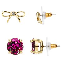 Kate Spade New York Bow And Glitter Stud Earrings Set Gold Pink