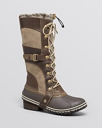 Sorel Conquest Carly Lace Up Cold Weather Boots Camo Brown Pebble
