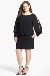 Xscape Evenings Embellished Cuff Blouson Jersey Dress Plus Size Black