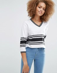 Asos T Shirt With Colour Block Panels Black White Multi