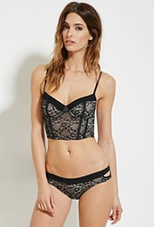 Forever 21 Floral Lace Corset Black Nude