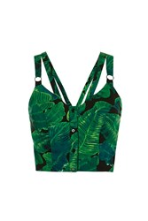 Topshop Palm Latino Print Crop Green