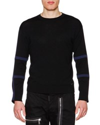 Dsquared Tape Trim Long Sleeve Wool Sweater Black Blue