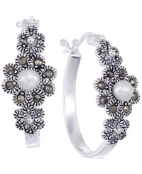 Genevieve And Grace Cultured Freshwater Pearl 4Mm And Marcasite Flower Hoop Earrings In Sterling Silver