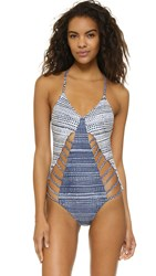 Mara Hoffman Braided Swimsuit Peacock Stripe