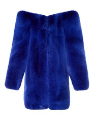 Saint Laurent Exaggerated Shoulder Fox Fur Coat Blue