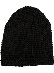 Isabel Benenato Ribbed Knit Hat Black
