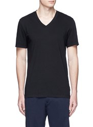 James Perse V Neck Cotton Slub Jersey T Shirt Black