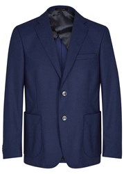 Oscar Jacobson Fox Blue Wool Blazer