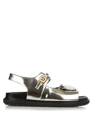 Marni Fussbett Embellished Leather Sandals Silver
