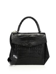Nancy Gonzalez Oversized Crocodile Satchel Black