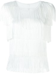 Norma Kamali Layered Fringed Blouse White