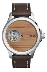 Men's Fossil 'Nate' Leather Strap Watch 46Mm Brown Wood Grain