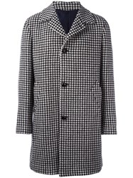 Massimo Piombo Mp Houndstooth Single Breasted Coat Black
