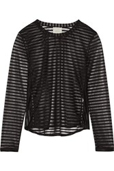 Mason By Michelle Mason Striped Stretch Chiffon Top Black