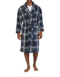 Nautica Shawl Collar Plaid Sleeping Robe Blue