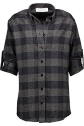 Iro Donella Plaid Cotton Flannel Shirt Gray