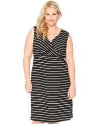 Motherhood Nursing Plus Size Striped Nursing Nightgown Black And White Stripe