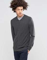 Asos Polo Neck Cardigan In Merino Wool Mix Charcoal Grey
