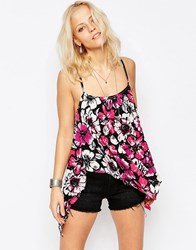 Wal G Cami Top In Floral Print Fuscia Pink