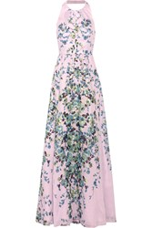 Lela Rose Floral Print Cotton Voile Gown Pink